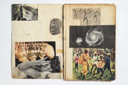 An open notebook showing a collage layout.